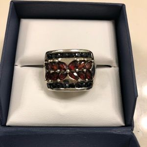 Stunning Sapphire and Garnet Sterling Silver Ring